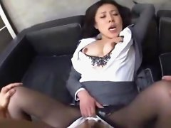 Busty Office Lady Squirting While Fingered Getting Fucked On The Couch In The Office