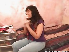Teen brunette with enormous tits gives me full blo