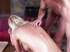 Blonde housewife swallowing a cumshot for lunch