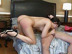 Lusty brunette porn star babe gives insane blowjob
