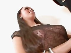 Stunning brunette with natural bosom and pierced twat takes on black cock