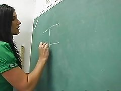 Classy brunette teacher toying her hungry snatch