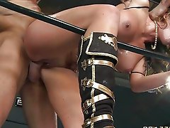 Sexy porn star babe gets double fucked