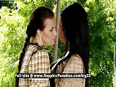 Ashley and Klara astonished lesbian babes anal fingering