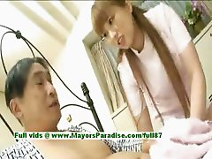 Myuu Hasegawa innocent cute asian girl giving a blowjob