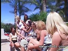 Alicia Rhodes and Brittney Skye along with a group of their lesbian girlfriends are attending this pool party where youll find them all dipping their