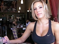Anne lovely blonde with short hair flashing tits and pussy and ass in public