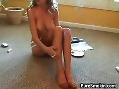 Sexy brunette MILF Jamie Lynn smokes part3