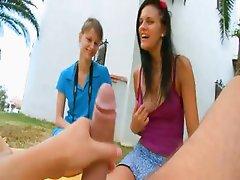 Two girlfriends Beata and Mia eating me