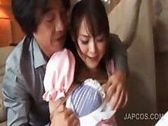 Close-up with asian pussy lick in cosplay 3some