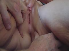 Shaved pussy masturbation