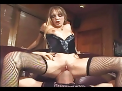 Cunnilingus in stockings a garter and a corset