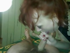 Russian redhead girl blowjob and cum in mouth