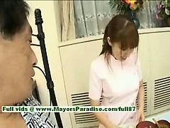 Myuu Hasegawa innocent cute chinese girl giving a blowjob