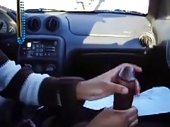 Girl gives handjob to big black cock