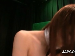 Japanese babe in bunny suit gets fucked thru fishnets