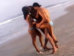 Very hot and steamy threesome beach dick suck
