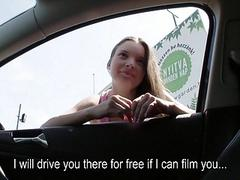 Amateur teen hitchhiker fucks for a ride