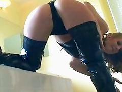 Babe fucking in thigh high boots over stockings