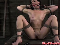 Pussy clamped sub gagged and dildofucked