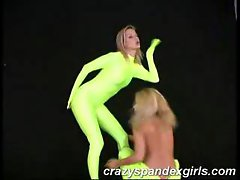 Crazy spandex girls teasing