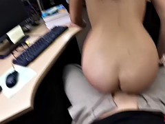 nerdy chick fucks on cam to get extra money in a pawnshop