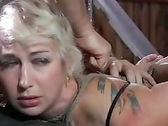 Tied up slave sucks little masters cock with pleasure BDSM