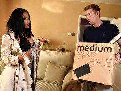 Glamorous big-boobed MILF Kiki Minaj jumps on a huge white dick