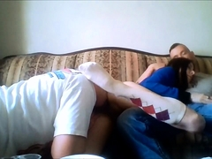 Alluring brunette teen having fun with two boys on webcam