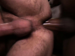 Incredibly hot gay interracial threesome in the garage