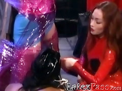 Bound lesbian sub dominated by vintage Mistress and toys