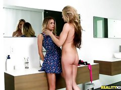 Two angelic chicks Sindy and Blake Eden are enjoying lesbian sex