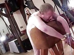 Fat bastard receives hard whipping from kinky femdom mistress BDSM