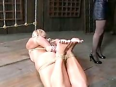 Tied up slave girl whipped by lesbian mistress BDSM porn