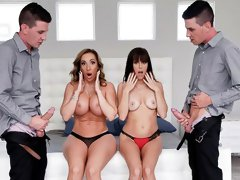 Two horny men are fucking with Richelle Ryan and Alana Cruise