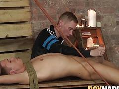 Bound sub twink hardfucked and played with by his dom