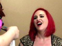Busty redhead tgirl dominated into doggystyle