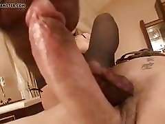Mistress in stockings cock teases her tied up slave BDSM