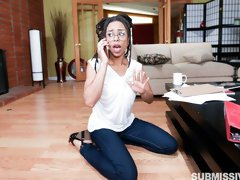 Submissive sporty ebony Kira Noir fucked by a long white dick