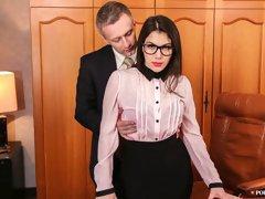 Sexy secretary Valentina Nappi fucked by two massive dicks