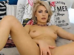 Webcam blonde babe teasing show