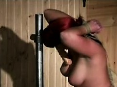 Busty redhead beauty is horny masochist who loves bondage