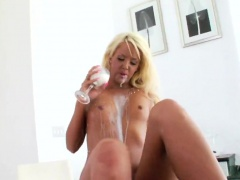 Hot lesbians fill up their massive asses with whipped cream