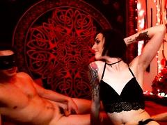 Slim brunette camgirl in black lingerie enjoys a meat pole