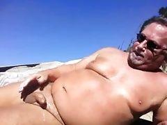 Daddy wank on beach