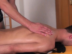 Twink masseur barebacking client before cum