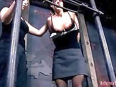 Cute slave got her tits destroyed by lesbian mistress BDSM