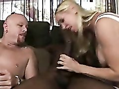 Big titty blonde gets her guys to go bisexual