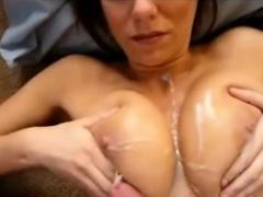 Ejaculating on her beautiful breast