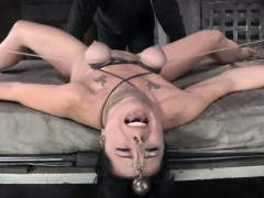 Breast bondage sub in brutal punishment